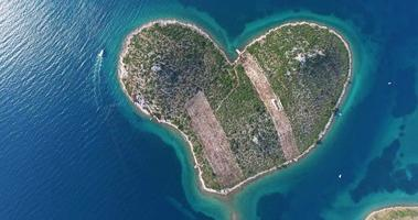 Aerial view of heart-shaped Island of Galesnjak, Croatia