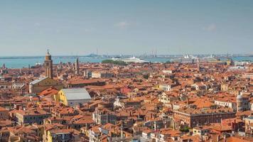 Italien Sommertag San Marco Campanile Aussichtspunkt Venedig Luft Dach Stadt Panorama 4k Zeitraffer