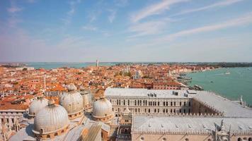 Italien Tag Venedig berühmtesten San Marko Campanile Basilika Aussichtspunkt Stadt Bucht Panorama 4k Zeitraffer