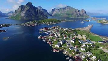 Fishing town Reine on Lofoten islands from above