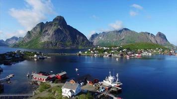 Fishing harbor in town Reine on Lofoten islands in Norway