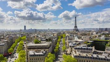 Eiffel Tower, elevated aerial view over rooftops, Paris