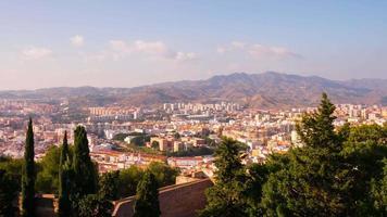 Espagne malaga sun light city panorama du château 4k time lapse