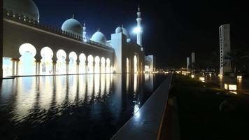 night light mosque time lapse from abu dhabi uae video