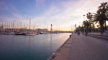 Spanien Barcelona City Sunset Port Walking Bay 4k Zeitraffer