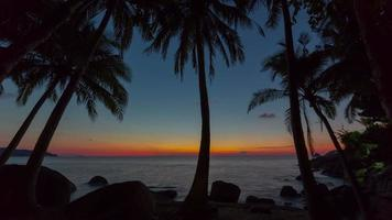 Tailandia phuket island palm paraíso playa atardecer panorama 4k lapso de tiempo video