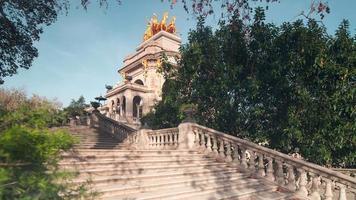 barcellona sole luce fontana scale nel parco de la ciutadella 4k lasso di tempo spagna video