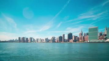 bellissimo panorama di manhattan 4k lasso di tempo da new york video