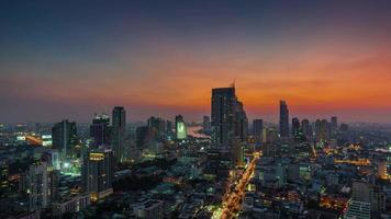 Tailândia sunset bangkok roof top city panorama rio 4k time lapse video