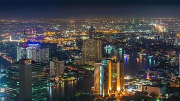 Tailandia noche bangkok ciudad río tráfico techo panorama 4k lapso de tiempo
