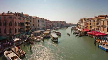 italy sunny day venice city famous rialto bridge grand canal traffic panorama 4k time lapse video