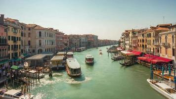 italy summer day venice city famous rialto bridge grand canal traffic panorama 4k time lapse video