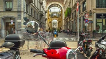 italy day milan gallery vittorio emanuele street scooter parking panorama 4k time lapse video