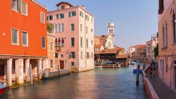 italy sunny day venice city famous traffic canal panorama 4k time lapse