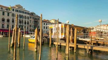 italy summer day venice city canal bay ferry station panorama 4k time lapse video