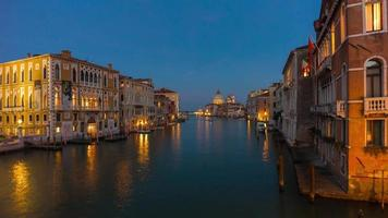 italy famous night illumination venice city grand canal santa maria della salute panorama 4k time lapse video