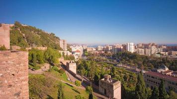 Espagne malaga lumière du soleil château d'alcazaba arènes vue 4k time lapse