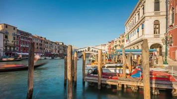 italy summer day famous venice city rialto bridge canal side panorama 4k time lapse video