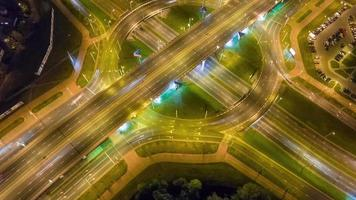 belarus night illumination city road junction circle traffic aerial panorama 4k time lapse minsk