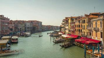 italy sunny day famous rialto bridge grand canal bay restaurants panorama 4k time lapse venice video