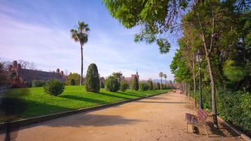 spain sunny day barcelona ciutadella park walking road 4k time lapse