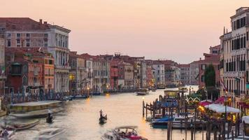 italy sunset light famous rialto bridge grand canal traffic panorama 4k time lapse venice video