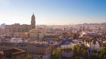 spain malaga city sun light cathedral panorama 4k time lapse