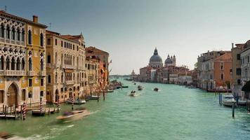 italy summer day grand canal santa maria della salute basilica traffic panorama 4k time lapse venice