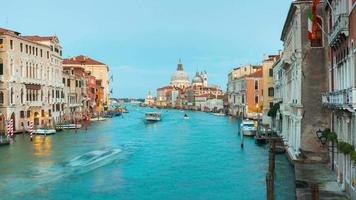 italy most famous twilight venice city grand canal santa maria della salute panorama 4k time lapse