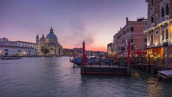 italy grand canal santa maria della salute basilica cathedral sunset sky panorama 4k time lapse video