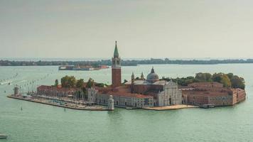 itália veneza cidade famosa san marco campanile san giorgio maggiore basílica panorama 4k time lapse