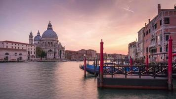 italy grand canal santa maria della salute basilica sunset water traffic panorama 4k time lapse venice