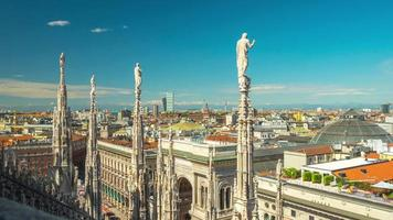italy day milan famous duomo cathedral rooftop view point panorama 4k time lapse video