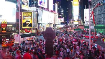 times square crowded broadway theaters and animated led signs video