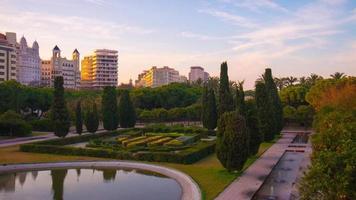 Spanien Valncia Sonnenuntergang Licht Garten Brücke Park Zeitraffer
