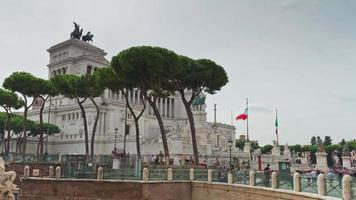 Italien regnerischen Tag Rom berühmten Altare della Patria Panorama 4k Zeitraffer video