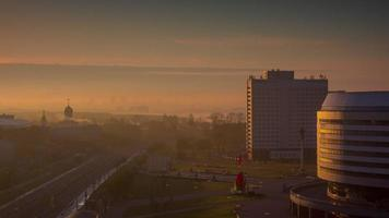 belarus sunset city panorama roof top panorama 4k time lapse minsk video