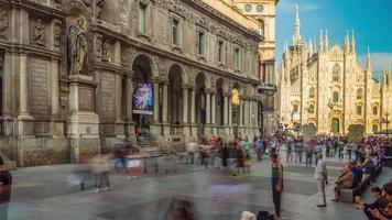 italia summer day milano mercanti street duomo cathedral panorama 4k time lapse video