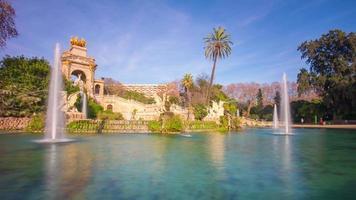 Spanien Barcelona Sonnenlicht Brunnen Ciutadella Park Panoramablick 4k Zeitraffer