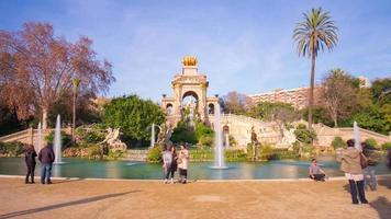 Spanien Barcelona Tageslicht Ciutadella Park Brunnen4k Zeitraffer