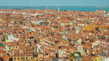 Italien Sommertag Venedig Stadt berühmte San Marco Campanile Luft Stadtbild Panorama 4k Zeitraffer