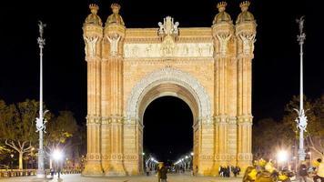 luz noturna local turístico arco de triomf 4k time lapse barcelona espanha