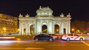 madrid night light arch de triumph front traffic panorama 4k time lapse spain