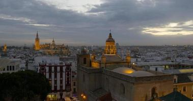 seville sunset cathedral view panorama 4k spain