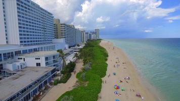 Beach scene Miami aerial video