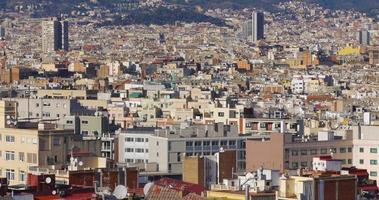 sun light barcelona city panorama 4k spain