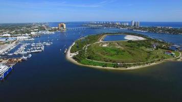 Aerial video of Peanut Island Florida
