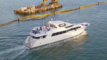 USA Miami City Sommer Sonnenuntergang Zeit Yacht Verkehr Blick 4k