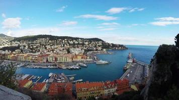 Panoramic view of Nice coastline and port with blue sky, Cote d'Azur, French Riviera.