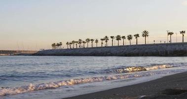 panorama di malaga tramonto spiaggia baia 4K